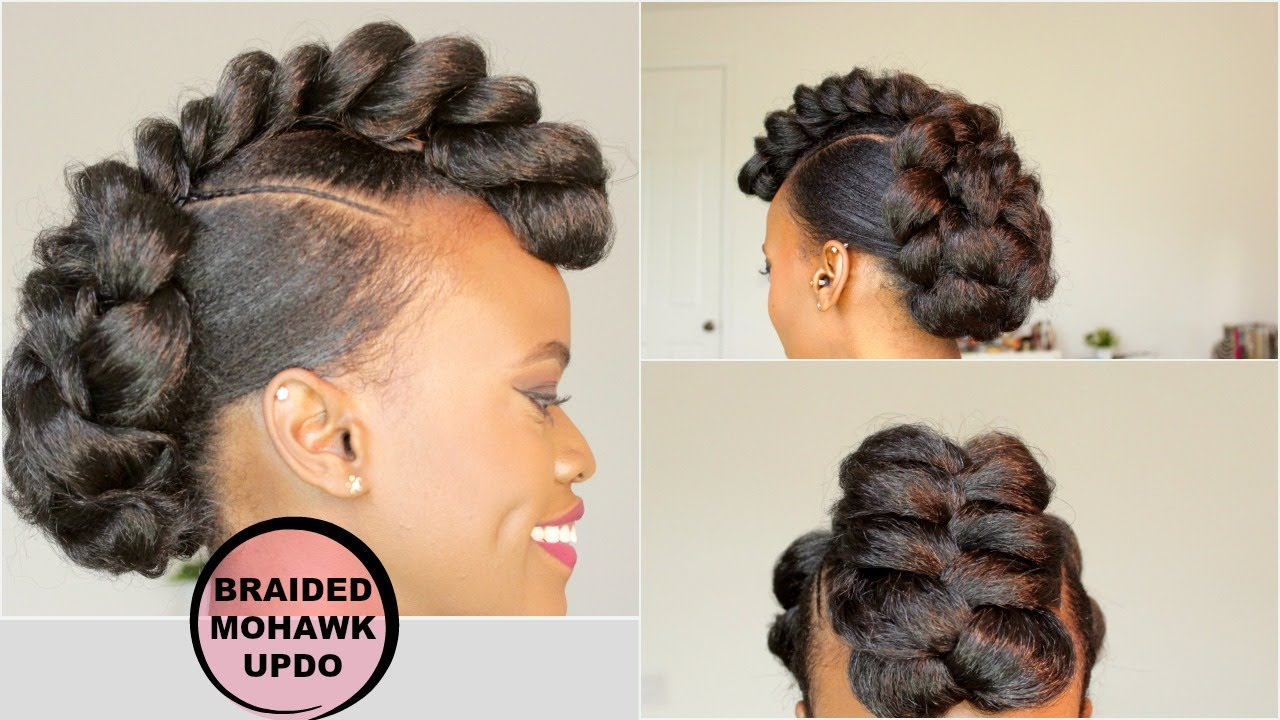 Braided Updo Styles For Natural Hair: BRAIDED MOHAWK STYLE UPDO [NATURAL HAIR TUTORIAL]