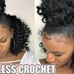 BRAIDLESS CROCHET | TOP KNOT/ HALF UP HALF DOWN (NO CORNROWS!) [Video]