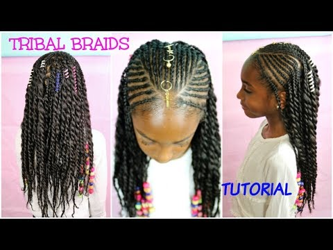 KIDS NATURAL HAIR STYLES | TRIBAL BRAIDS & BEADS TUTORIAL [Video ...
