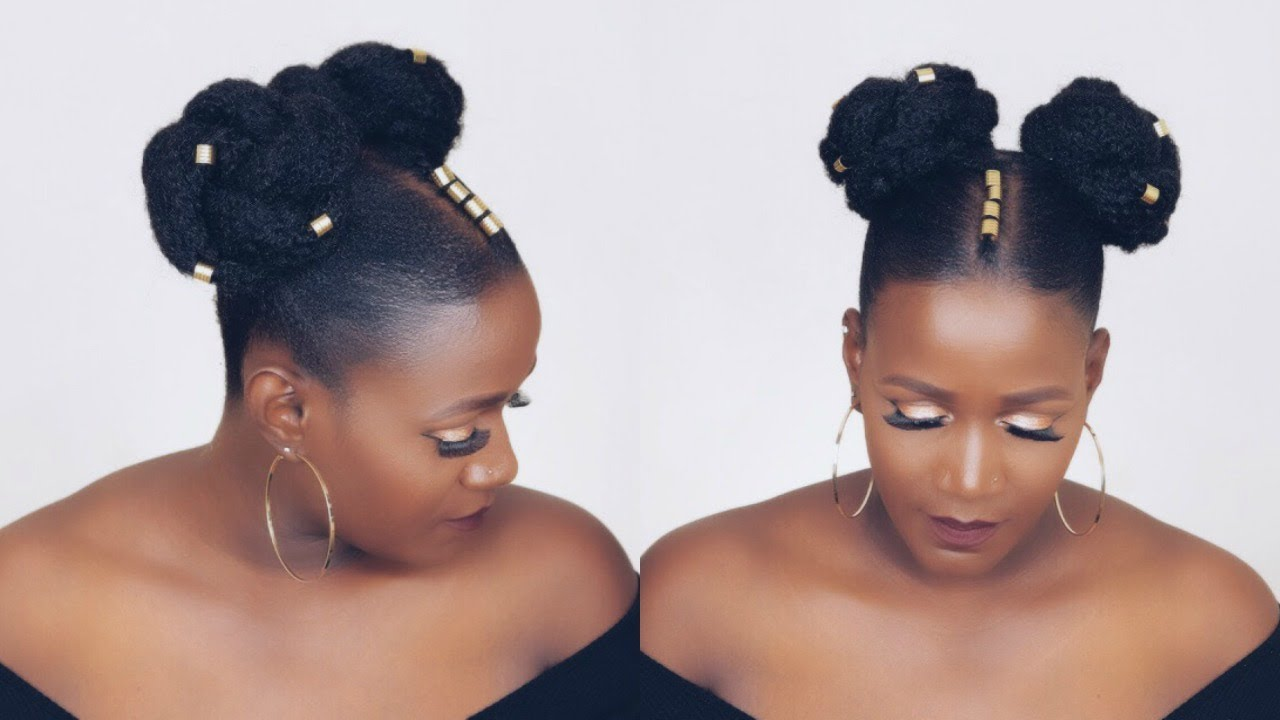 Summer Tribal Space Buns On Thin Natural Hair Video