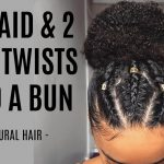 1 Braid & 2 Flat Twists Into A Bun
