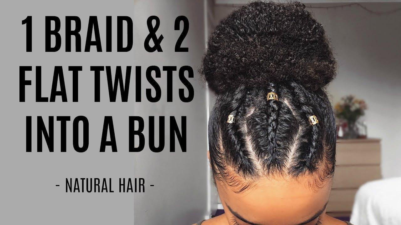 1 Braid Amp 2 Flat Twists Into A Bun Black Hair Information