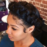 Beautiful crown braid by @filthyrichtresses