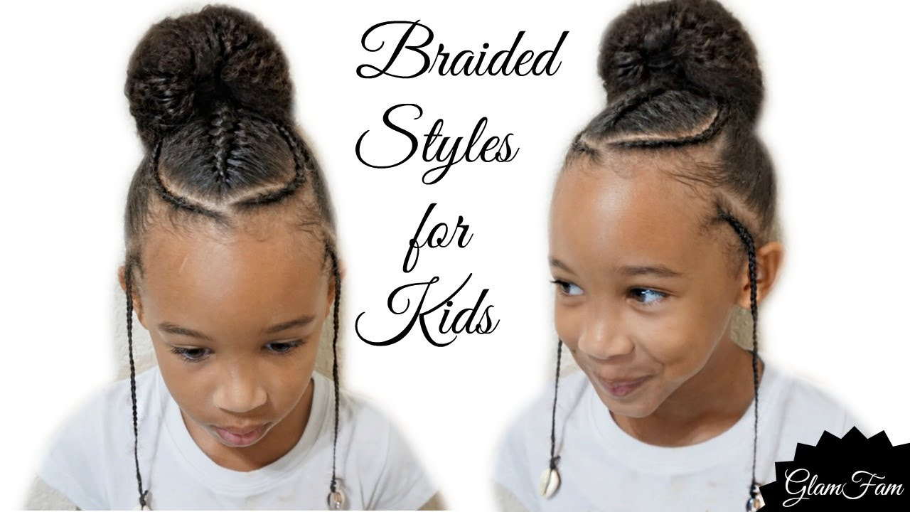 Children's Braided Hairstyle With a Bun   Back to school ...