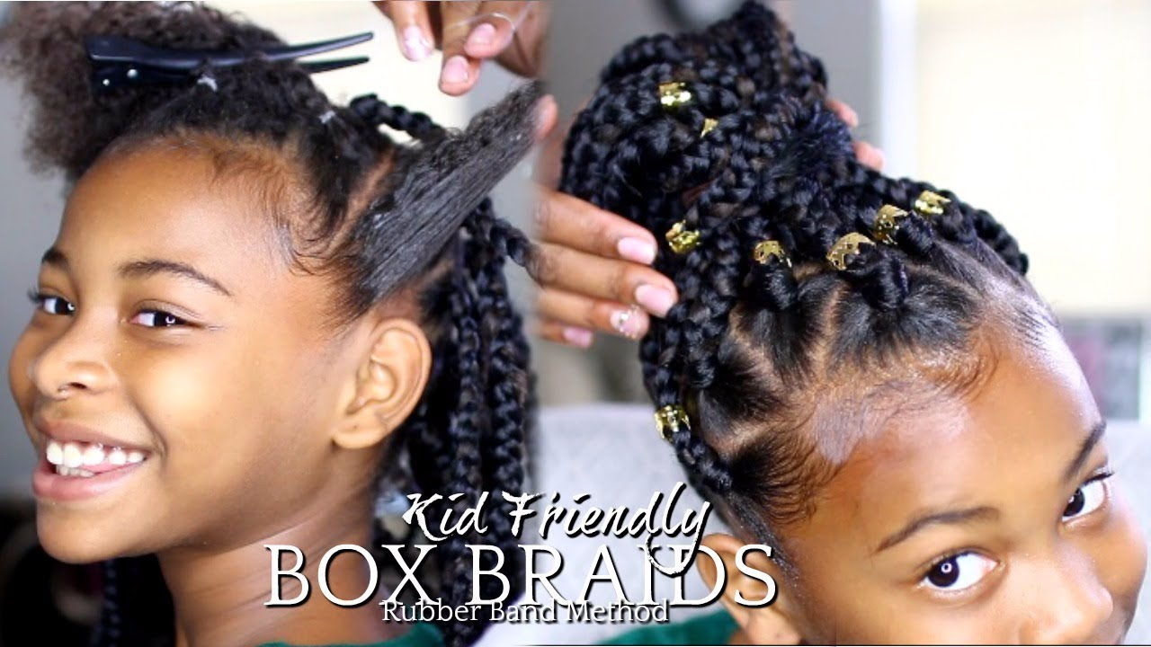 How To Box Braids Quot Rubber Band Method Quot Kids Hairstyle