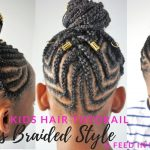 KIDS BRAIDED HAIRSTYLES TUTORIAL | Feed In Cornrows Ponytail [Video]