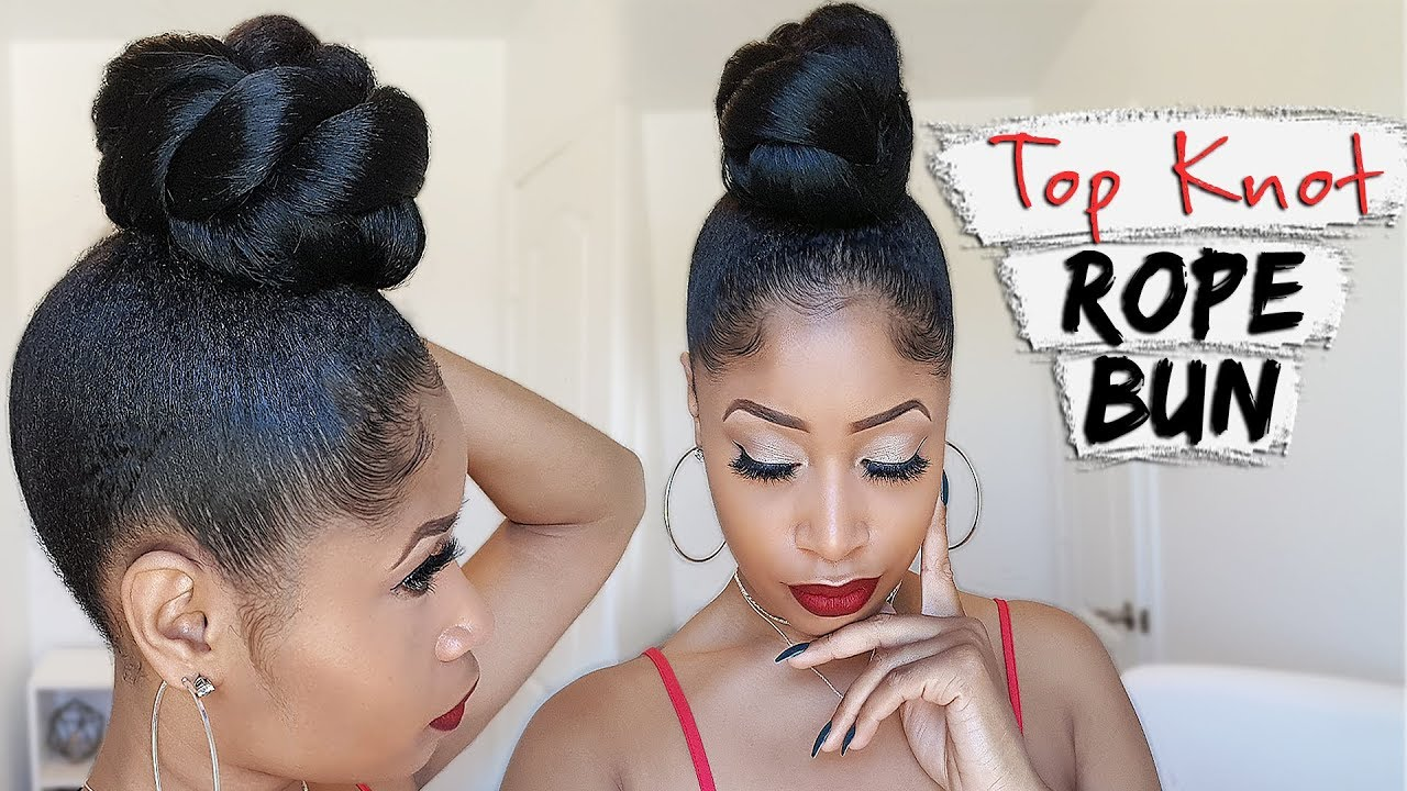 The Top Knot Rope Bun Hair How To Video Black Hair