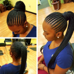 Nice simple straight back pony via @marlyshairbraiding