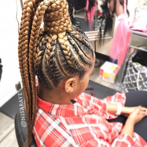 Nice high braided pony by @nisaraye