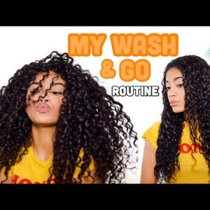 MY WASH AND GO ROUTINE! + Defined Curls | Natural Hair  [Video]