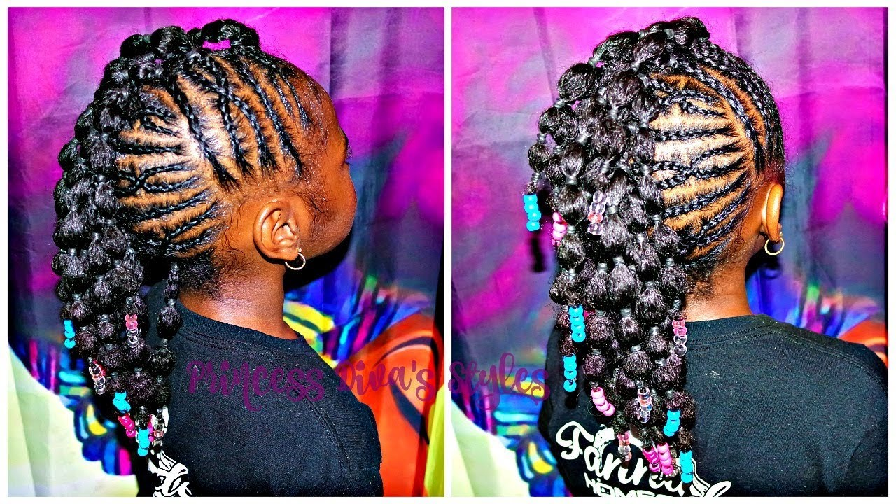 Braided Up Mohawk With Bubble Ponies Children S