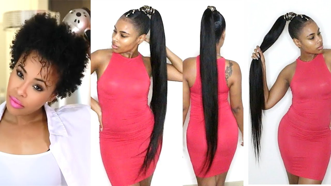 How To Do A Quick Weave Long Ponytail On Short Natural