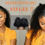 Sleek Low Ponytail On Short/Medium NATURAL HAIR- NO GEL [Video]