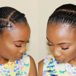 HOW TO – AFRICAN THREADING FLAT TWIST – LOW BUN HAIRSTYLE  FOR SHORT NATURAL HAIR