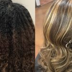 Natural Hair Chunky Highlights Blowdry and Flatiron [Video]