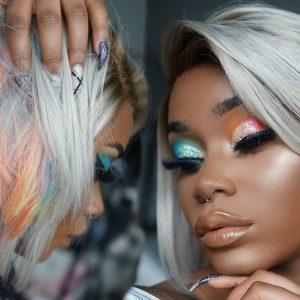Hair & Makeup Peekaboo Pastel Rainbow blunt bob & mini makeup look [Video]