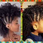Side braid faux hawk with bantu knots @enanitaverd