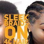 DIY Sleek Feed-in Braids on short 4C Hair