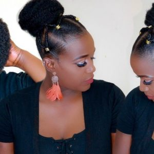 Summer Top Knot Bun With Tribal Braids On 4c Natural Hair [Video]
