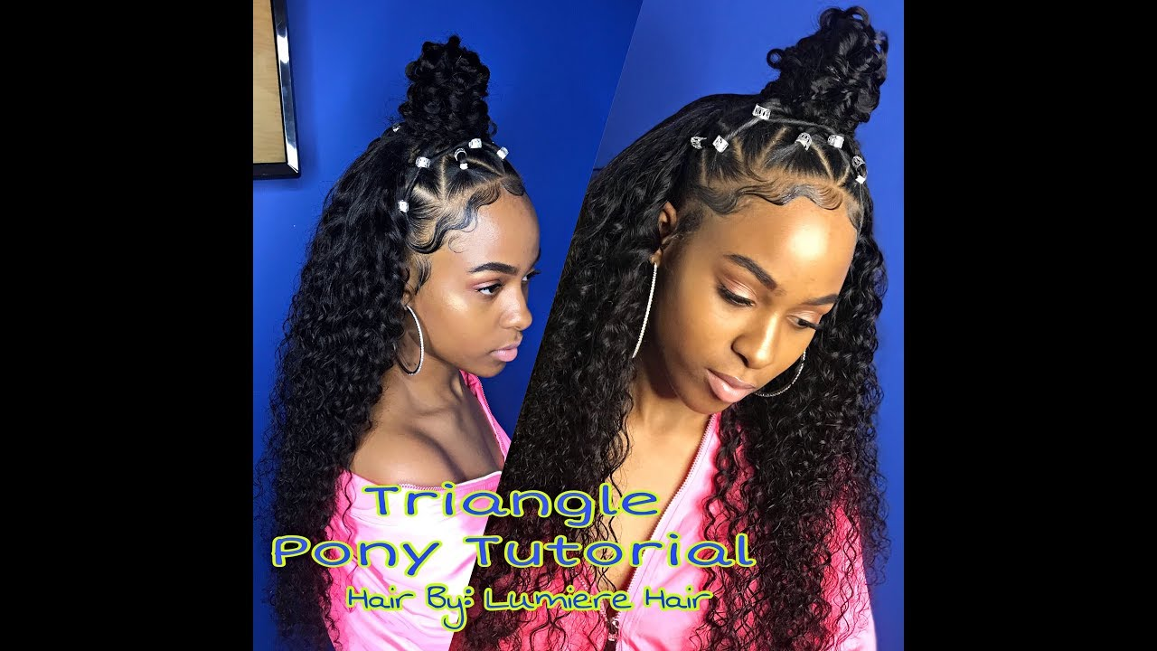 Small Triangle Ponytail Quick Weave Video Black Hair