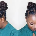 African Threading Updo On Short Natural Hair