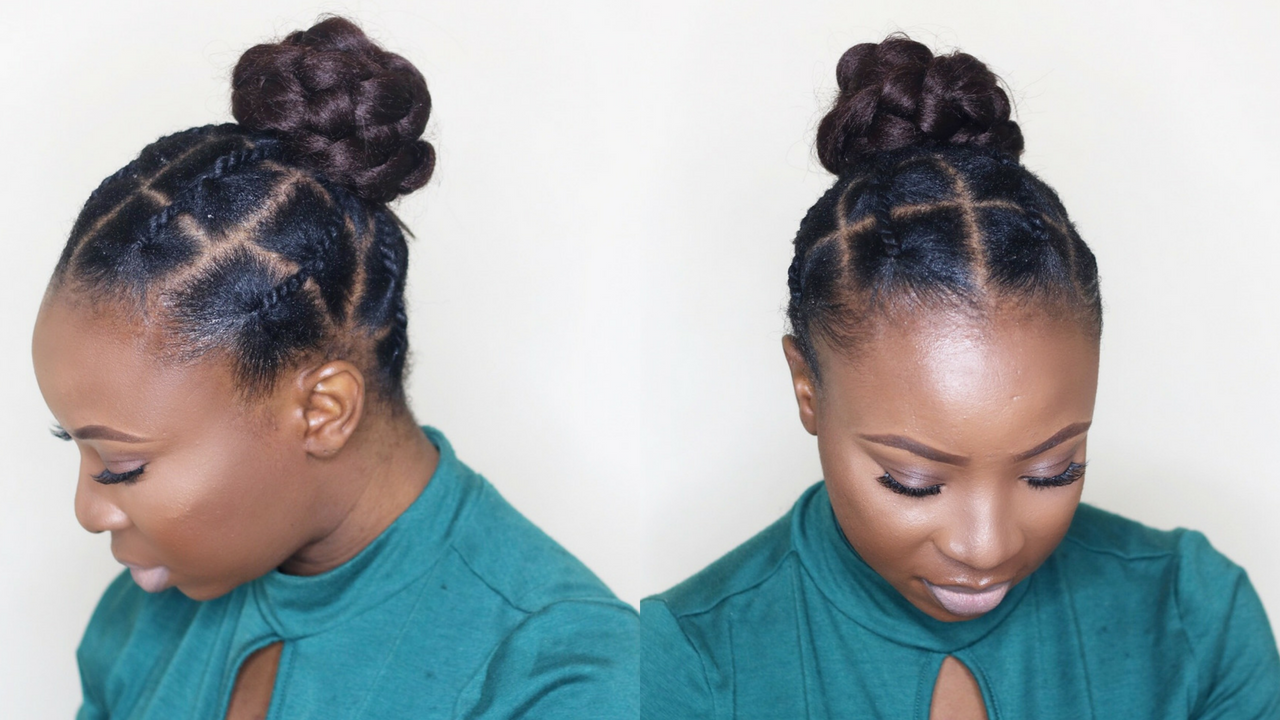 A Hairstyles For Short Hair: African Threading Updo On Short Natural Hair