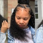 Half and Half Feed In Braids with Sew In [Video]