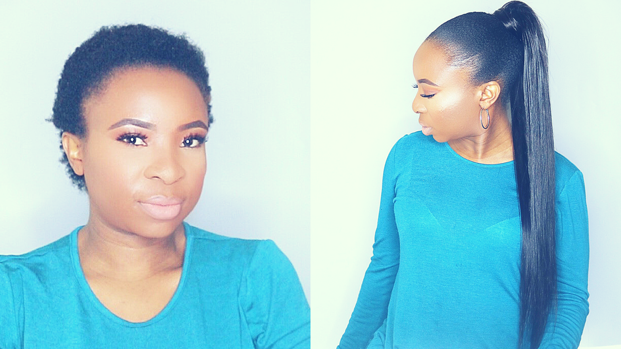 Do Sleek Ponytail With Weave On Short Natural