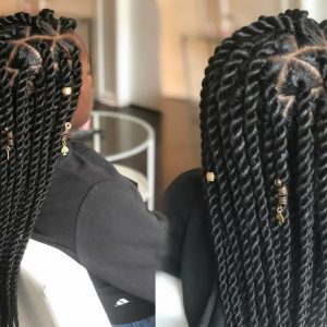 How To – Jumbo Senegalese Rope Twist On Straight Hair – Triangle Parts [Video]
