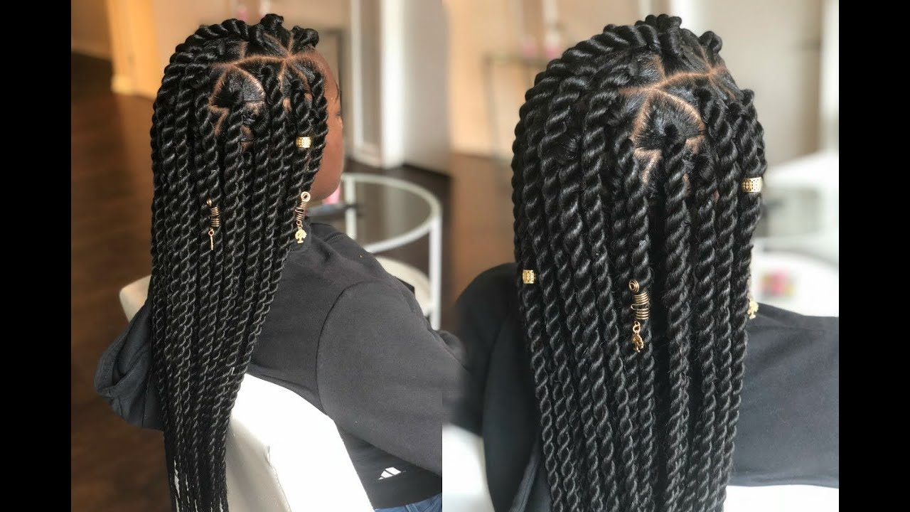 How To Jumbo Senegalese Rope Twist On Straight Hair