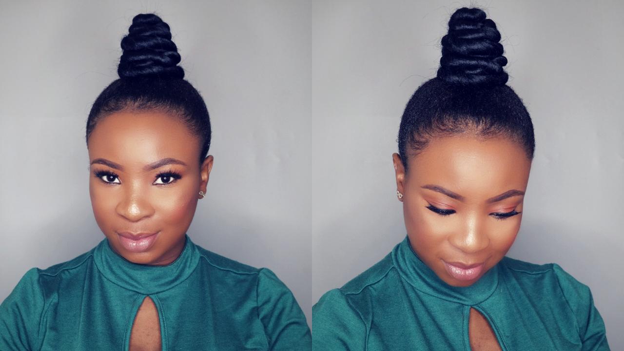 How To Easy Top Knot Bun Ninja Bun On Short Natural Hair Black Hair Information