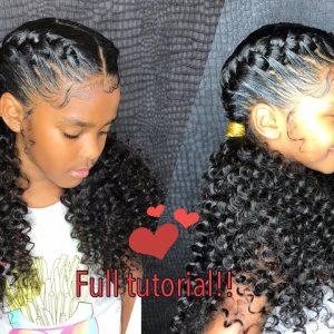 Little Girl Goddess Braids – Curly ponytail ends tutorial! [Video]