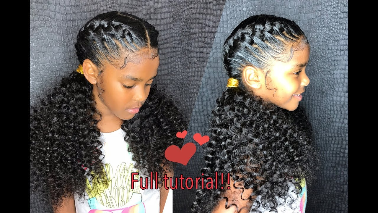 Little Girl Goddess Braids Curly Ponytail Ends Tutorial