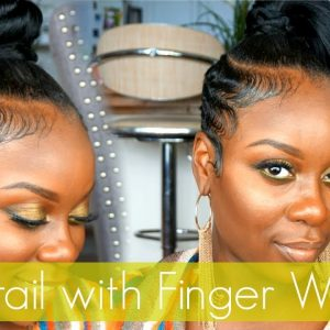 Easy Ponytail with Finger Waved Sides|Short Hair Tutorial! [Video]