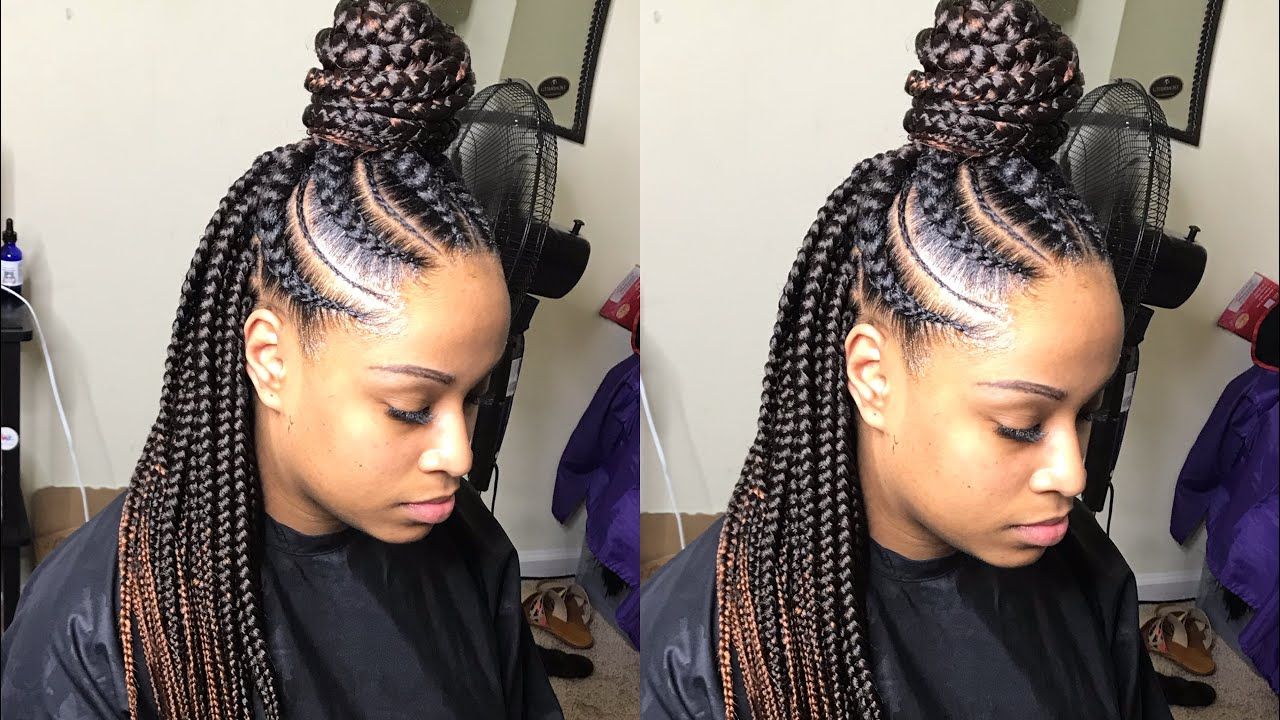 Large Feed In Box Braids Tutorial Very Detailed Video