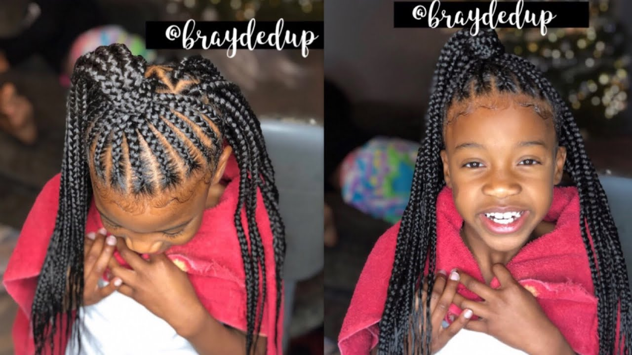Kids Feed In Braid Triangle Part Box Braid Combo Video