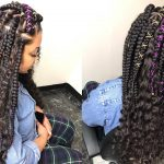 Large Free Part Shape Box Braids With Curly Hair [Video]