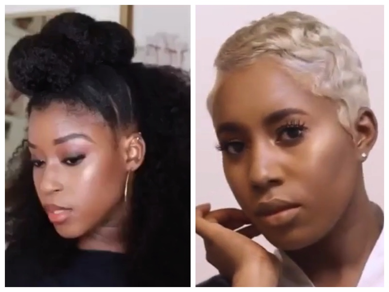 Short Hair Blonde Transformation Kids Braid Out With Buns Other Hairstyles For Black Women And Kids Black Hair Information