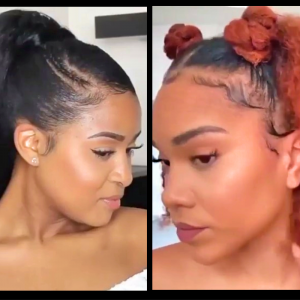 Ponytail Slay, Double Buns N Curly Fro, Top Knot W/Side Swept Bangs & Other Lovely Hairstyles