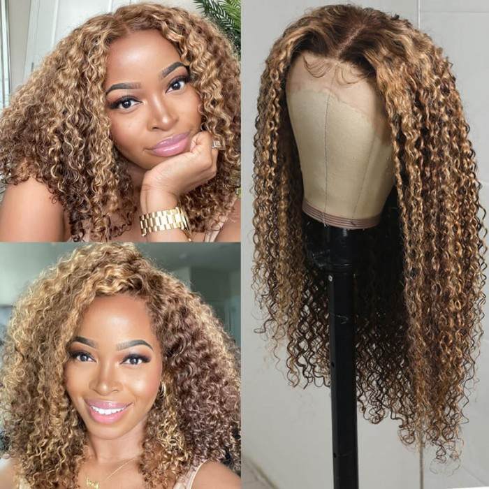 Nadula Brown Highlight/Honey Blonde Highlight Curly Lace Front Wig